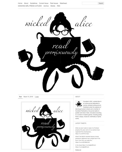 Recent cover image or website screenshot for Wicked Alice