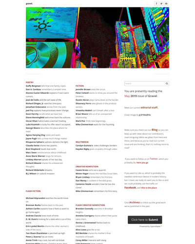Recent cover image or website screenshot for Gravel: A Literary Journal