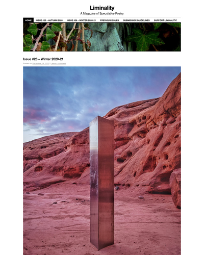 Recent cover image or website screenshot for Liminality: A Magazine of Speculative Poetry