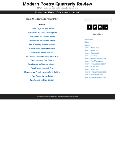 Recent cover image or website screenshot for Modern Poetry Quarterly Review
