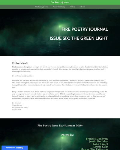 Recent cover image or website screenshot for Fire Poetry Journal