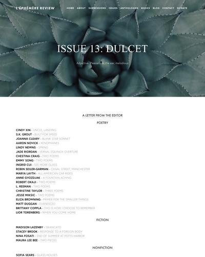 Recent cover image or website screenshot for L'Éphémère Review