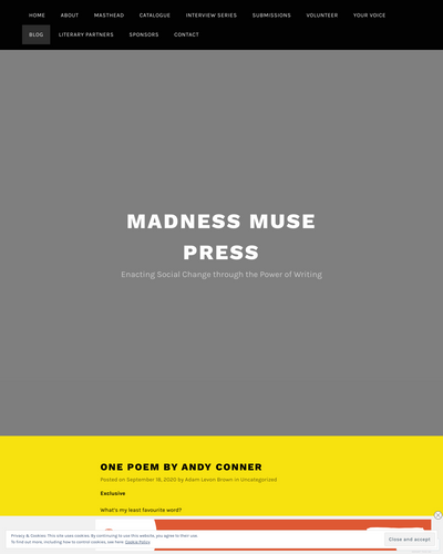 Recent cover image or website screenshot for Madness Muse Press Blog