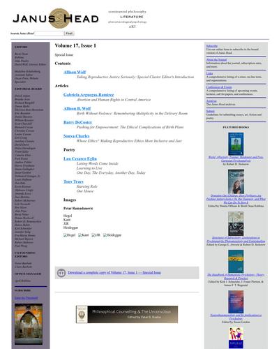 Recent cover image or website screenshot for Janus Head