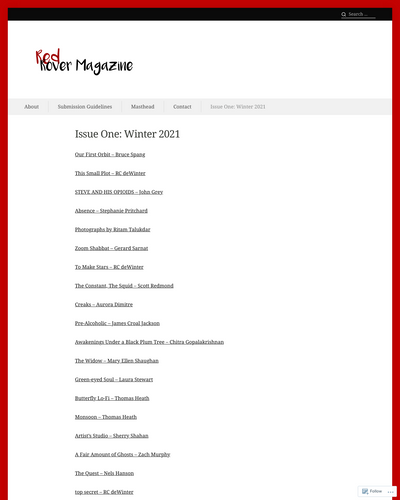 Recent cover image or website screenshot for Red Rover Magazine