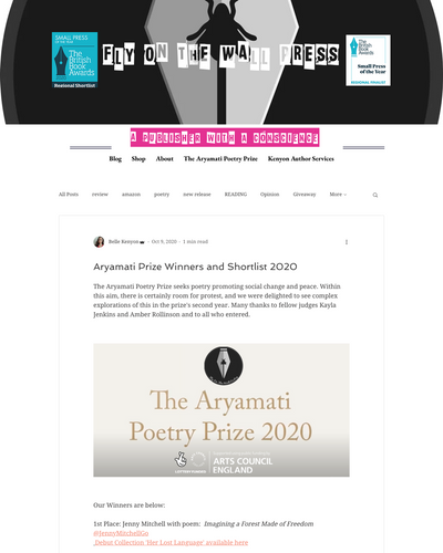 Recent cover image or website screenshot for The Aryamati Poetry Prize