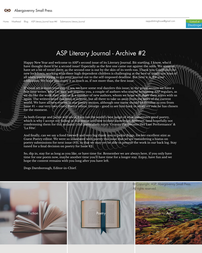 Recent cover image or website screenshot for Abergavenny Small Press Literary Journal
