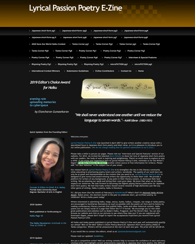Recent cover image or website screenshot for Lyrical Passion Poetry E-Zine