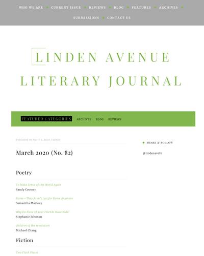 Recent cover image or website screenshot for Linden Avenue Literary Journal