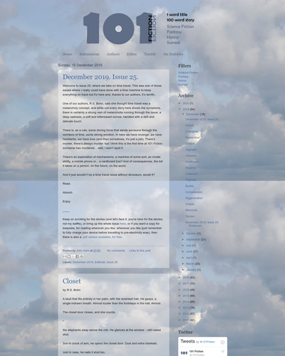 Recent cover image or website screenshot for 101 Fiction