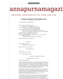 Recent cover image or website screenshot for Annapurna Magazine