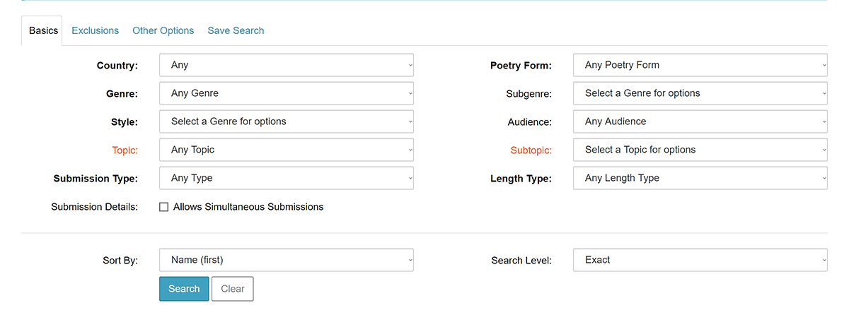 Screenshot of Basics tab on Duotrope's Search for Poetry Agents page