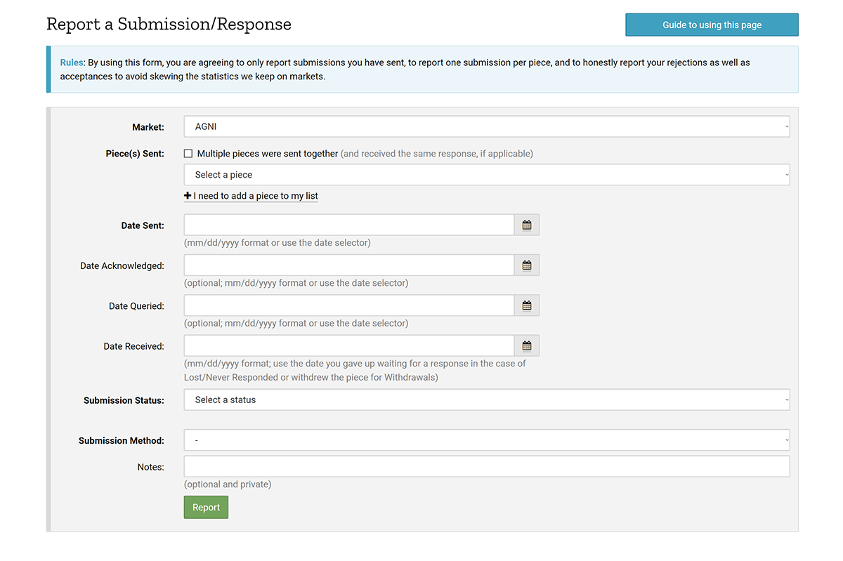 Screenshot of Duotrope's Report a Submission form