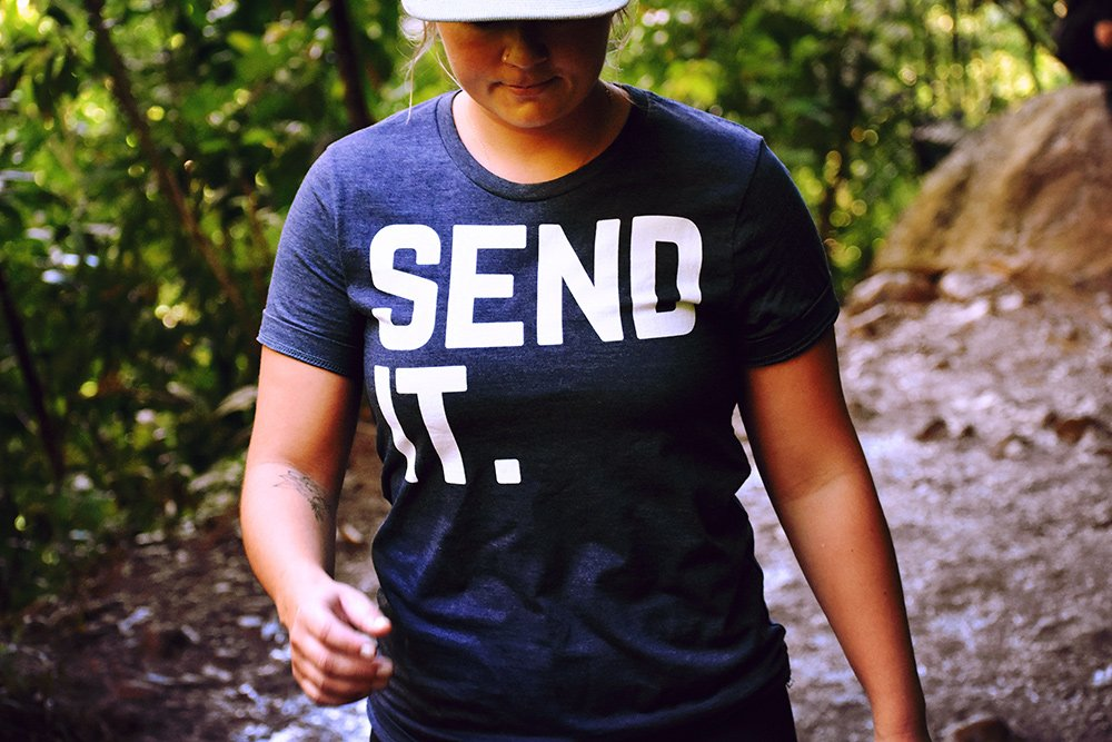 Girl wearing a 'Send It!' t-shirt. (Photo by Drew Farwell.)